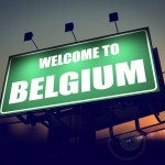 Billboard Welcome to Belgium at Sunrise.